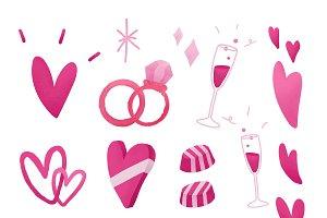 Pink valentines love doodle set