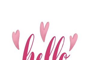 hello typography with hearts vector