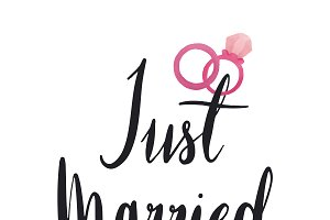Just married typography vector