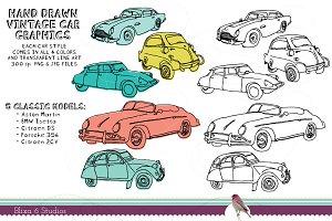 Vintage Car Clip Art Illustrations