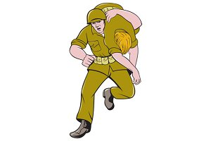 World War Two American Soldier Carry