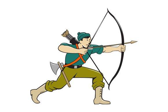 archer aiming long bow arrow cartoon illustrations creative market
