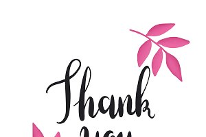 Black thank you typography vector