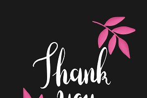 White thank you typography vector