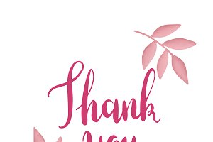 Pink thank you typography vector