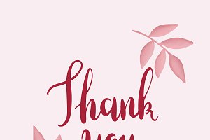 Red thank you typography vector