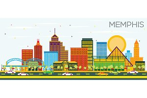 Memphis Tennessee Skyline with Color