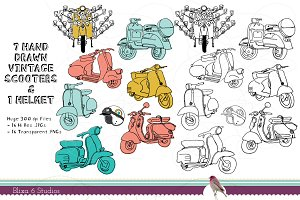 Vintage Scooter Clip Art Bundle