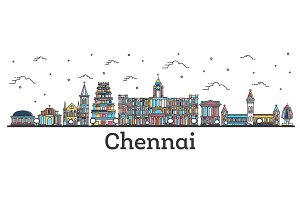 Outline Chennai India City Skyline