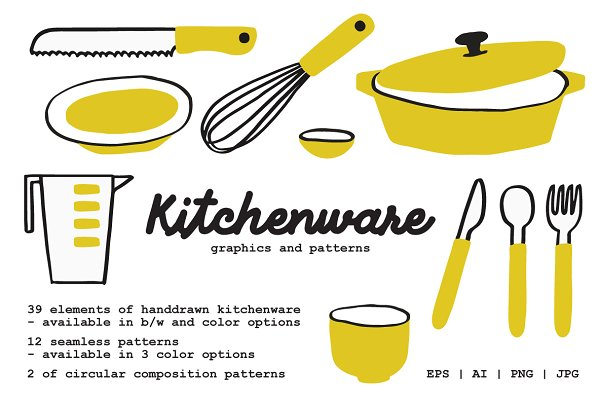 Illustrations and Illustration Products: Prangtip F. - Kitchenware Graphics and Patterns