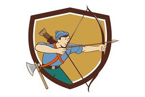 Archer Aiming Long Bow Arrow Cartoon