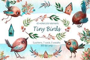 Tiny Birds - Watercolor Clip Art Set