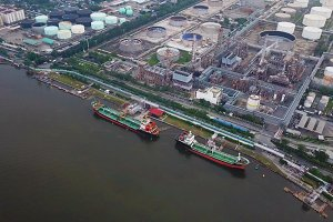 Aerial top view of ships in front of
