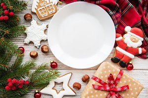 Empty plate with Christmas cookies a