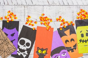 Halloween candy corns and craft bags