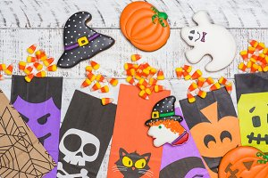 Halloween candy corns and cookies