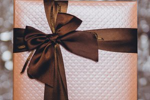 gift box with brown bow