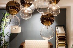 Decorative modern chandelier over ta