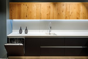 Interior of modern kitchen with whit