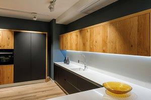 Stylish kitchen with modern white co