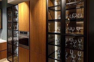 Interior of modern kitchen with glas