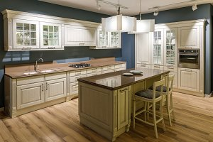 Interior of modern kitchen with wood