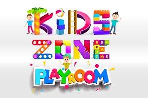 Kids Zone Playroom logo design