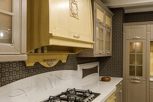 Interior of modern kitchen with plat