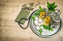 Mint tea, delight, arabian lantern
