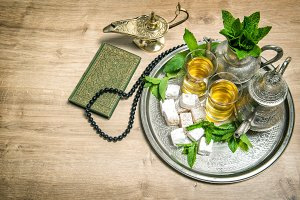 Mint tea, delight, arabian lantern