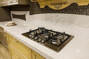 Stylish kitchen with stove on white