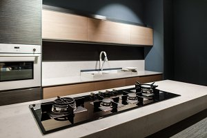 Interior of modern kitchen with meta