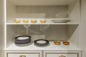 Stylish kitchen with modern tablewar