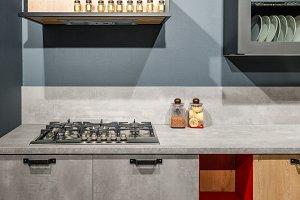 Stylish kitchen with elegant grey co