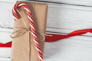 the candy cane on the box wrapped in