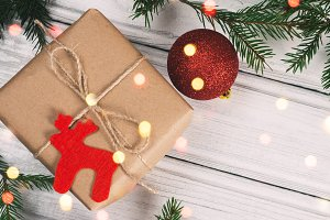 Christmas still life and gift with a
