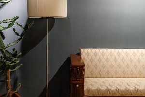 Lamp by vintage style sofa in cozy r