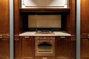 Interior of modern kitchen with stov