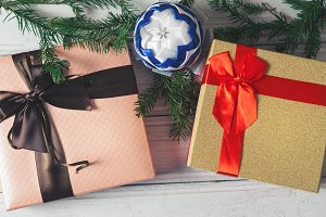 beautiful Christmas gift boxes on wo