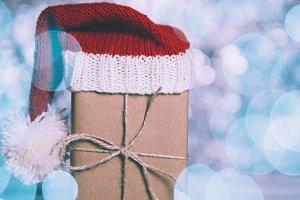 Christmas gift closeup on blue backg
