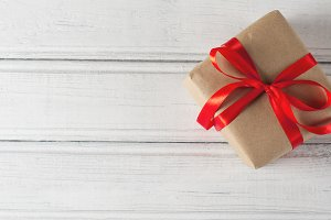 gift packaged in a Kraft paper on a
