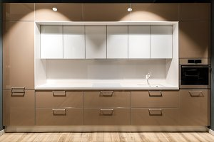 Interior of modern kitchen with styl