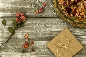 Vintage tray with petals of dried ro