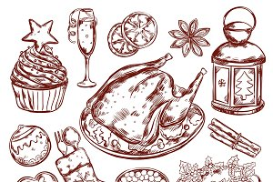 Christmas Food Menu Sketch
