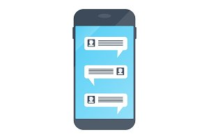 Chat in smartphone. Virtual chat