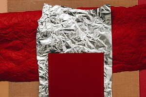 close-up view of various paper, foil
