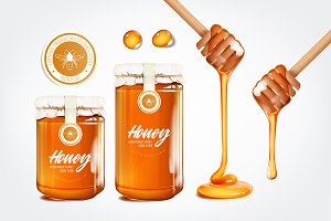 Realistic honey set