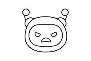 Angry robot emoji linear icon