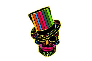 Skull icon gentleman colorful