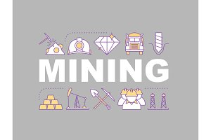 Coal mining industry concepts banner